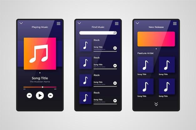 Interfaz de la aplicación del reproductor de música