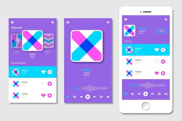 Interfaz de la aplicación reproductor de música