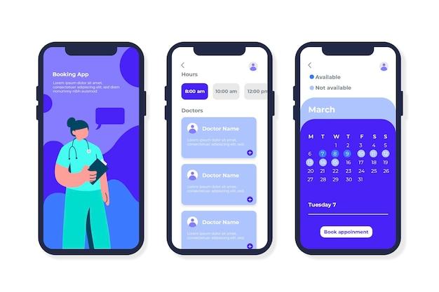 Interfaz de la aplicación de reserva médica