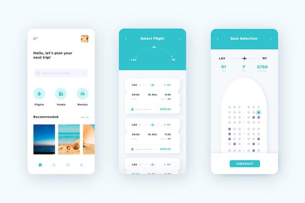 Interfaz de la aplicación de reserva de viajes