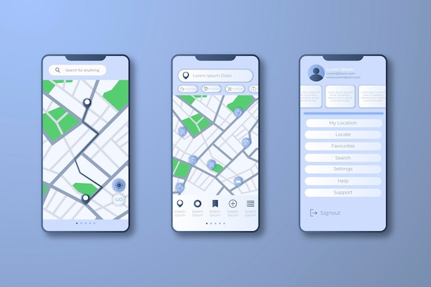 Interfaz de la aplicación de seguimiento de ubicación