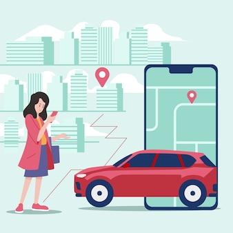 Interfaz de aplicación de taxi ilustrada