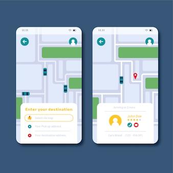 Interfaz de la aplicación de taxi