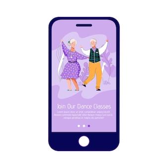 Interfaz de aplicación de teléfono móvil para clases de baile para personas mayores.