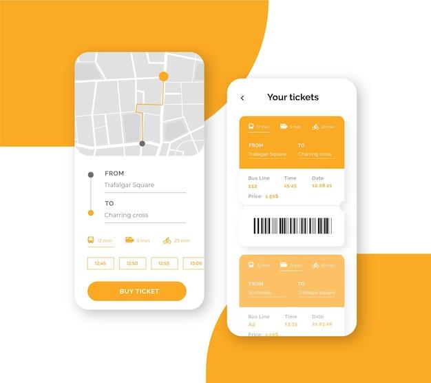 Interfaz de la aplicación de transporte público en el teléfono inteligente
