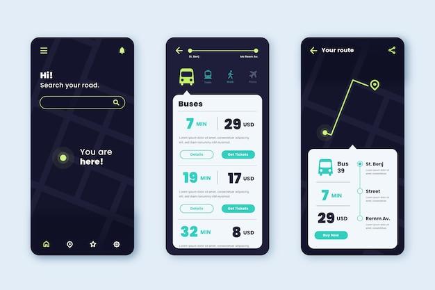Interfaz de la aplicación de transporte público