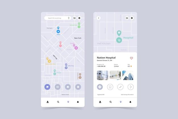 Interfaz de la aplicación de ubicación en el teléfono inteligente