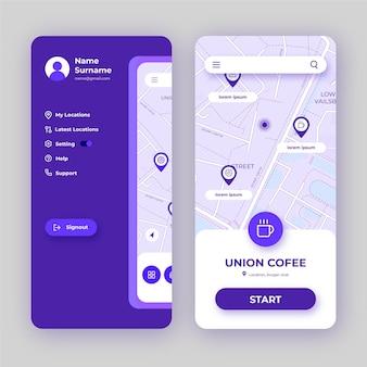 Interfaz de la aplicación de ubicación