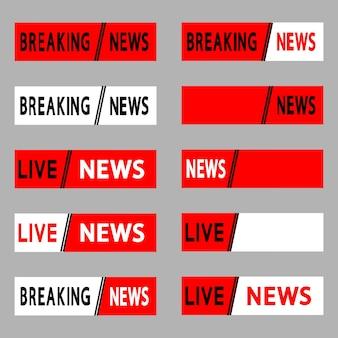 Interfaz de banner de noticias en vivo y noticias de última hora, transmisión en vivo