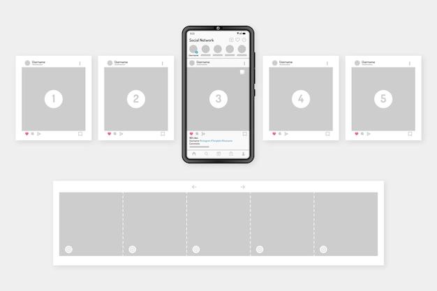 Interfaz de carrusel de instagram con dispositivo