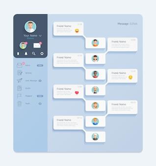 Interfaz de chat de messenger con concepto de diseño de interfaz de usuario móvil de fondo de ventana de diálogo