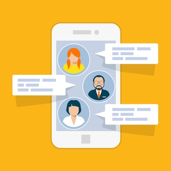 Interfaz de chat sms: mensajes cortos en el teléfono inteligente