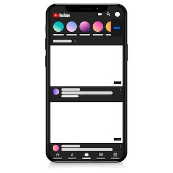 Interfaz de concepto de aplicación en línea del canal de video de youtube