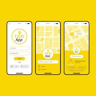 Interfaz del concepto de aplicación de taxi