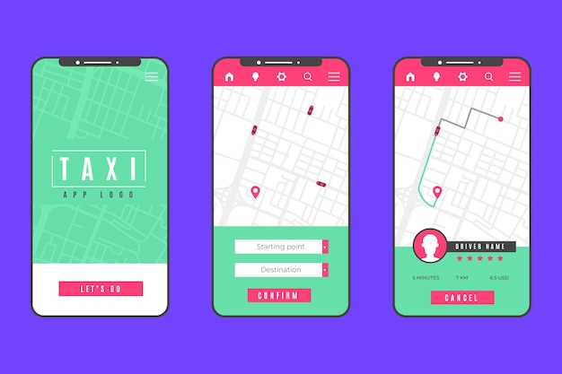 Interfaz de concepto de aplicación de taxi