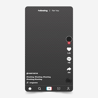 Interfaz creativa de la aplicación tiktok