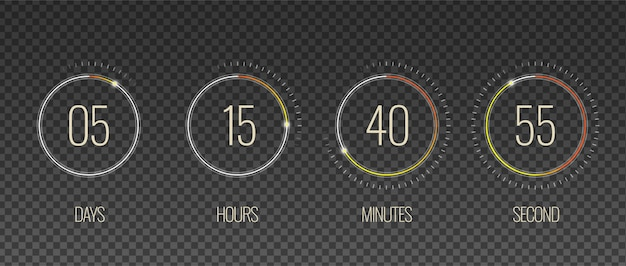 Interfaz cuenta atrás transparente conjunto con símbolos de hora y minutos realistas aislados