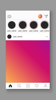 Interfaz de interfaz de usuario de la aplicación móvil de plantilla de marco de foto de redes sociales