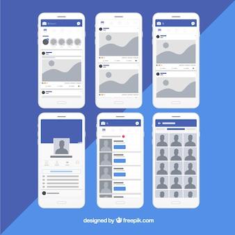 Interfaz de la aplicación de facebook con diseño minimalista