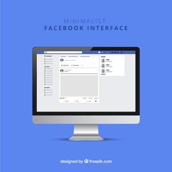 Interfaz de la web de facebook con diseño minimalista