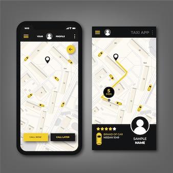 Interfaz de diseño de la aplicación de taxi