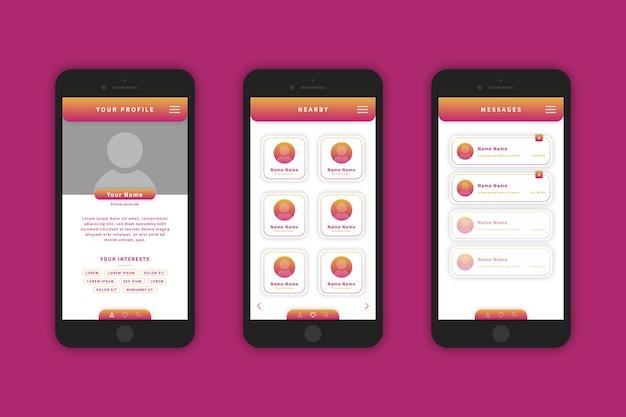 Interfaz de diseño de aplicaciones de citas