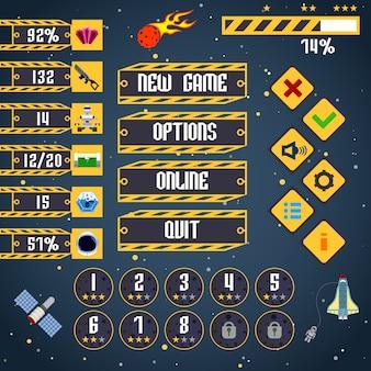 Interfaz de elementos del juego espacial.