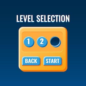 Interfaz emergente de tablero de selección de nivel de juego divertido