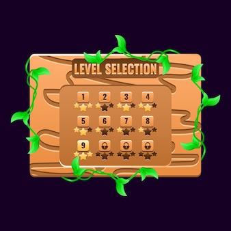 Interfaz emergente de tablero de selección de nivel de naturaleza de madera de juego ui para elementos de activos de interfaz gráfica de usuario
