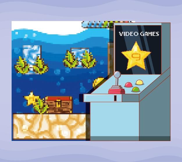 Interfaz de escena de videojuego con consola