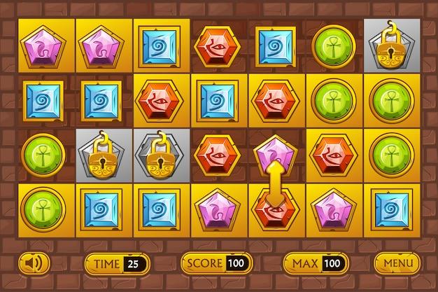 Interfaz de estilo egipcio juegos. egypts piedras preciosas multicolores, iconos de activos del juego y botones dorados