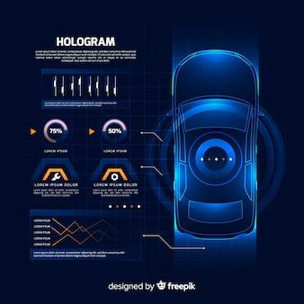 Interfaz futurística holográfica de un coche