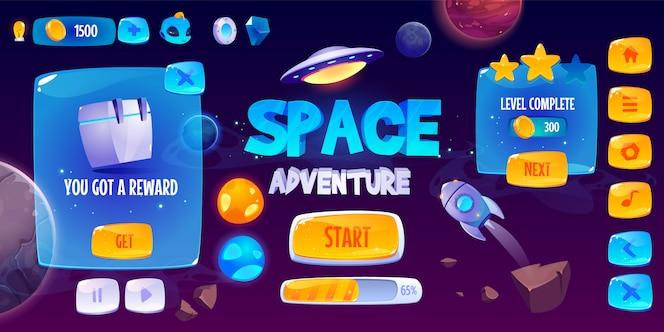 Interfaz gráfica de usuario para juego de aventura espacial.