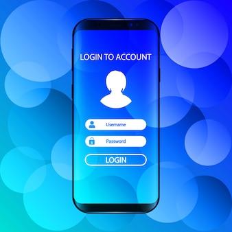 Interfaz. inicie sesión en la cuenta en el teléfono inteligente.
