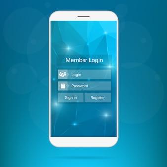 Interfaz de inicio de sesión de miembro web en el teléfono.
