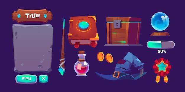 Interfaz de juego mágico con libro de hechizos, varita mágica y botella con poción