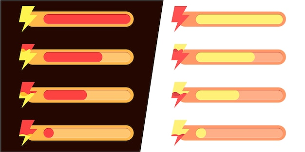 Interfaz de juego móvil. conjunto de iconos de estado de energía y actividad.