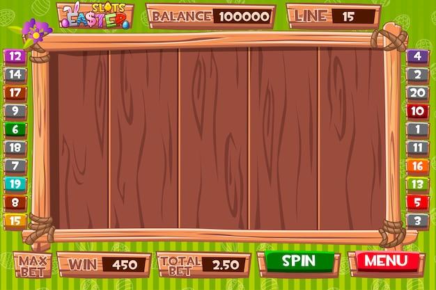 Interfaz de la máquina tragamonedas en estilo madera para vacaciones de pascua. menú completo de interfaz gráfica de usuario y conjunto completo de botones para la creación de juegos de casino clásicos.