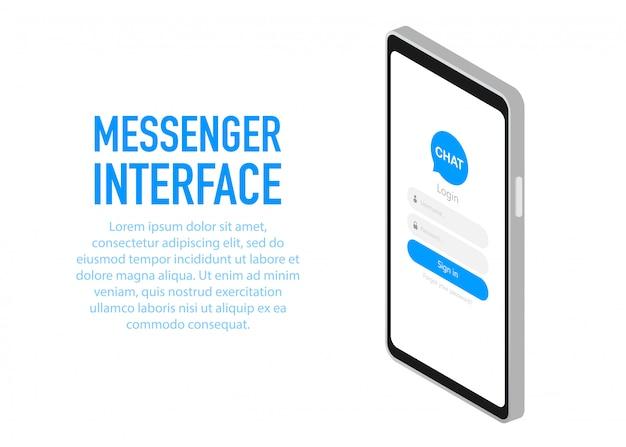 Interfaz de mensajería de moda aplicación con ventana de diálogo.