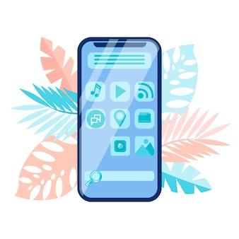 Interfaz de menú de teléfono inteligente