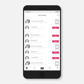 Interfaz moderna de la aplicación tiktok en el teléfono inteligente