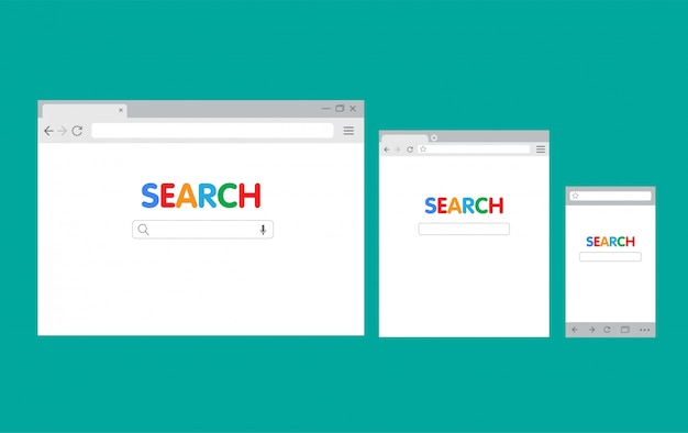 Interfaz de navegador para pc y móvil, plantilla de ilustración plana de motor de búsqueda
