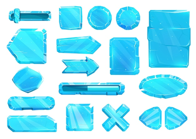 Interfaz de panel de usuario de cristal de hielo, botones, placas deslizantes y teclas de flecha, conjunto de interfaz de usuario de activos de juegos vectoriales. botones de ux y gui de hielo azul para el juego, menú de dibujos animados con nivel de volumen de energía y flechas de navegación del menú