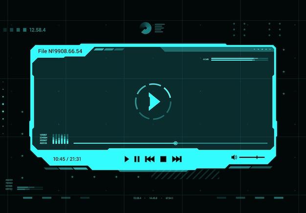 Interfaz de pantalla futurista del reproductor de video y sonido hud. futuro sistema multimedia, elemento de diseño de interfaz de usuario o ventana de holograma de realidad virtual con marco azul neón de vector de reproductor multimedia, botones e información de datos
