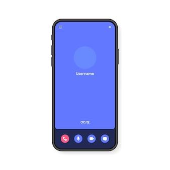Interfaz de pantalla de videollamada de teléfono móvil para video chat, redes sociales y comunicación. plantilla de teléfono inteligente. .