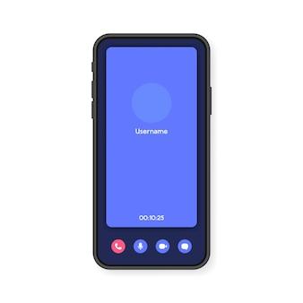 Interfaz de pantalla de videollamada de teléfono móvil para video chat, redes sociales y comunicación. teléfono inteligente