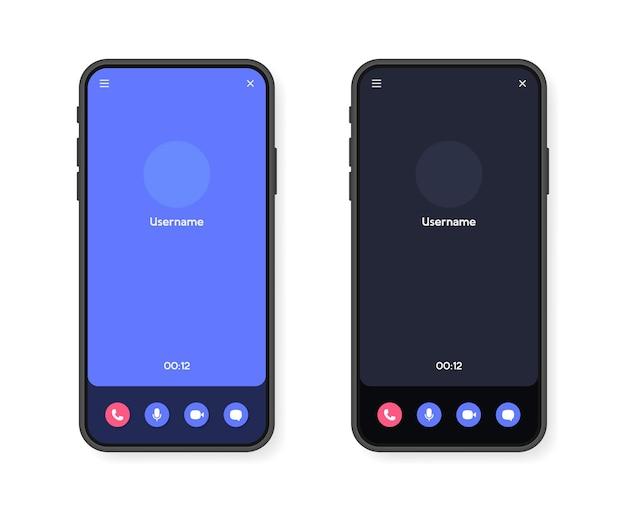 Interfaz de pantalla de videollamada de teléfono móvil para video chat, redes sociales y comunicación.