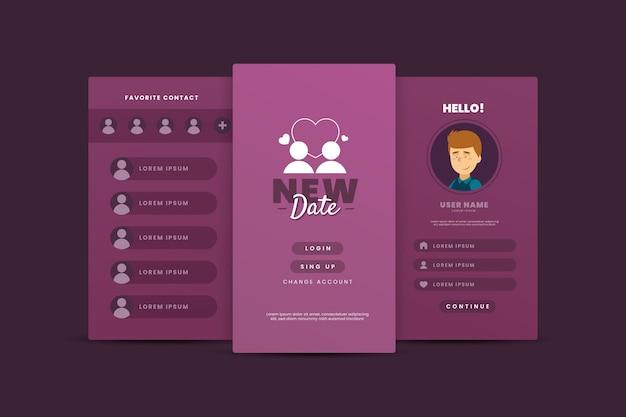Interfaz de plantilla de aplicación de citas