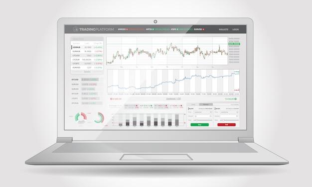 Interfaz de plataforma comercial con elementos infográficos