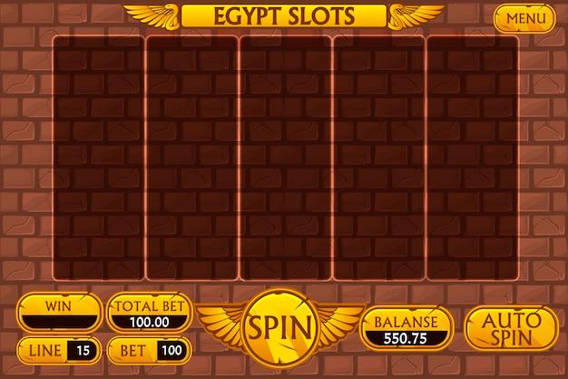 Interfaz principal de fondo egipcio y botones para juegos de tragamonedas de casino